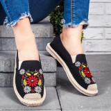 Espadrile dama negre cu flori Casila