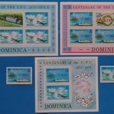 DOMINICA-1974-CENTENAR UPU-SERIE+2 KB+ Colita-MNH