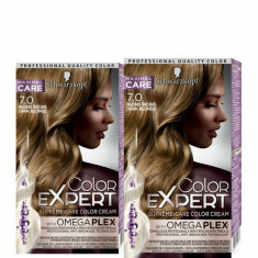 Set promo 2 x Vopsea de par Color Expert, nuanta Blond inchis 7.0 147 ml