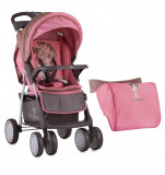 Carucior sport Foxy cu husa de picioare Beige Pink Girl