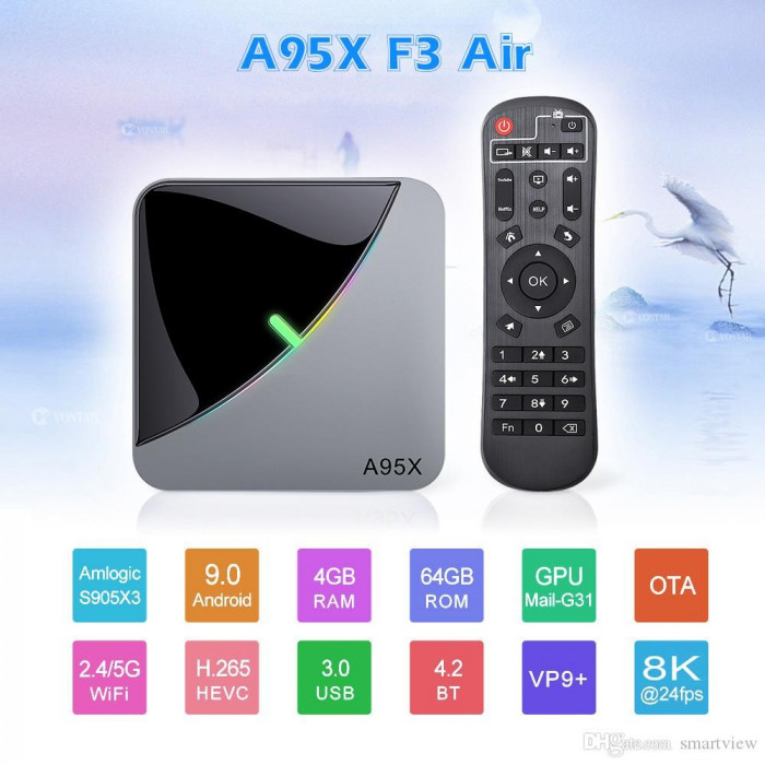 Mini PC SMART TV BOX, A95X F3 air s905x  Android 9.0, 4/32GB , Bluetooth,