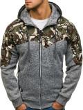 Cumpara ieftin Bluză pentru bărbat cu glugă și fermoar camuflaj-gri Bolf HH502