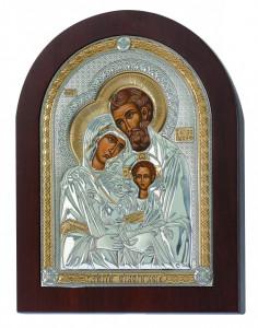 Icoana Sfanta Familie lucrata pe Foita de Argint 925 Auriu 7x10cm Cod Produs 778
