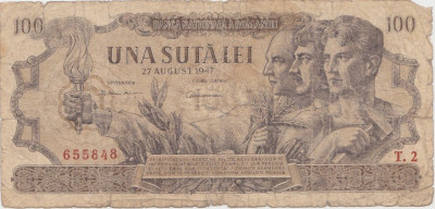 ROMANIA 100 LEI 27 AUGUST 1947 UZATA foto