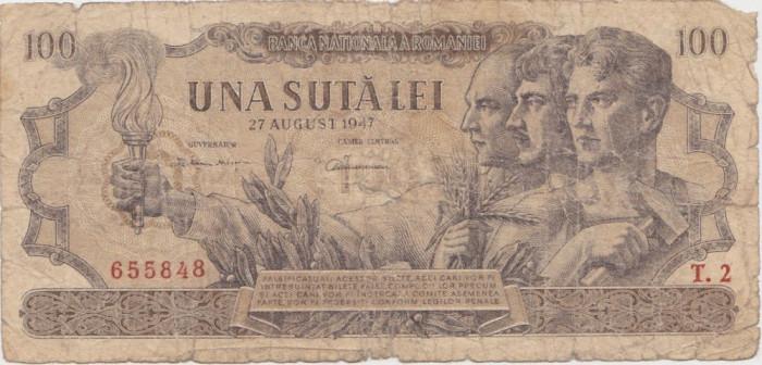 ROMANIA 100 LEI 27 AUGUST 1947 UZATA