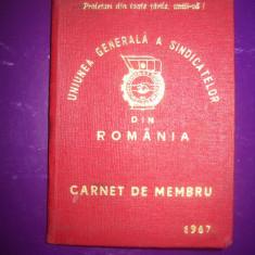 HOPCT CARNET DE MEMBRU SINDICAT UGSR ROMANIA 1967 CONSTANTA