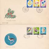 ROMANIA 1973  LP 818   OCROTIREA NATURII  PASARI SI FLORI  BLOCURI   SERIE FDC, Stampilat