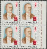 2001 Romania - 75 ani Marea Unire (supratipar papirus), LP 1556 bloc de 4 MNH, Oameni, Nestampilat