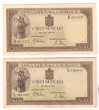 SV * Romania  LOT 2 x 500 LEI 1941 * FILIGRAN BNR VERTICAL si ORIZONTAL    AUNC+