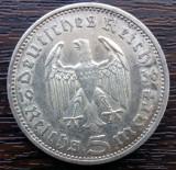 (A29) MONEDA DIN ARGINT GERMANIA - 5 MARK 1936, LIT. A, PAUL VON HINDENBURG