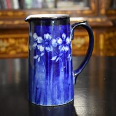 Cana / carafa veche ceramica Lawleys - decor floral nuante albastru