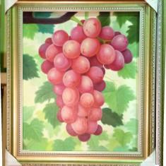 Tablou pictat manual pe panza in ulei Bucatarie Strugure A-083, Natura, Realism