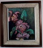 Flori – pictură, cu ramă de autor, semnată Heinrich 1964
