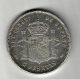SPANIA 5 PESETAS 1885 ARGINT STARE FOARTE BUNA