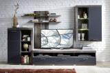 Set de mobila living din pal si MDF, 4 piese Krone I Grafit / Natur