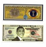 USA/SUA Bancnota Fantasy OBAMA - cu certificat