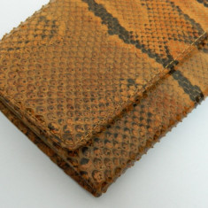 Portofel din PIELE DE SARPE vintage, uzat in interior