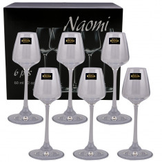 Set 6 pahare pentru lichior Naomi Bohemia, 60ml, cristal, transparente