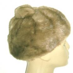 Caciula/bereta vintage blana naturala nurca cu pompon anii