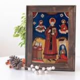 Sf.Nicolae -Icoană pictată pe sticlă(sec. XIX)