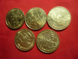 Set 5 Medalii Suvenir Disney Land Paris ,bronz aurit ,d=3,4cm, Europa