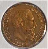 Moneda aur, 20 Fr Belgia , anul 1882 LEOPOLD II, UNC, Europa