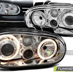 Faruri sport tuning Angel Eyes VW Golf 4 look R32 crom cu lupa NOU