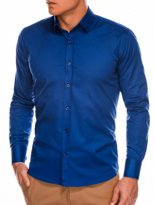 Camasa slim fit barbati K504 - bleumarin