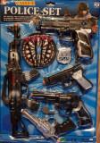 Set politist cu 5 pistoale si ventuze, mitraliera, fluier, insigna, pentru copii