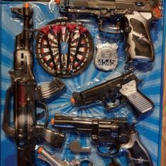 Set politist cu 5 pistoale si ventuze, mitraliera, fluier, insigna, pentru copii, 4-6 ani, Plastic, Baiat