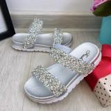 Cumpara ieftin Sandale argintii moi si elegante cu pietricele pt fetite 24 26 28 cod 0786, Fete