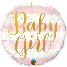 Balon botez Baby Girl Pink Stripes din folie metalizata 43cm