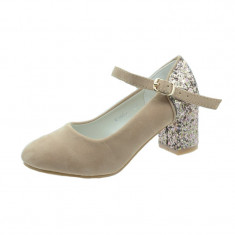 Pantofi cu toc fetite MRS R1502-1BE, Bej