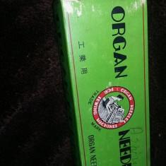 ambalaj original vechi,cutie cartonata pentru ace de cusut ORGAN NEEDLES,T.GRAT