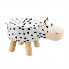 Scaun taburet pentru copii Pingo, model Vaca, 45 x 28 x 48 cm, 150 Kg, lemn/flanel, alb/negru