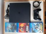 PS4 slim 500GB + 1 controler + 3 jocuri