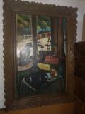 Tablou interior cu pisica, Peisaje, Ulei, Impresionism