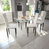 Set 6 scaune de culoare albă și masă de sticlă