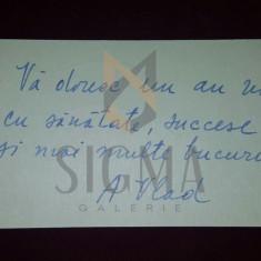 CARTE DE VIZITA - AUREL VLAD CATRE AL. CIUCURENCU