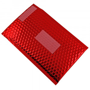 Set 10 plicuri cu bule antisoc, spatiu destinatar-expeditor, laminate, termoizolante, autoadezive Office Depot, 36x27 cm, Rosu