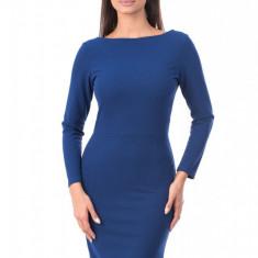 G577-4 Rochie albastra, stil office cu maneci lungi