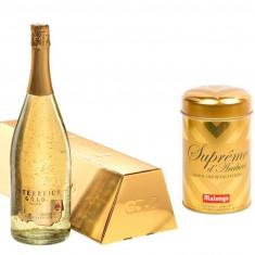 Cadou Gold Luxury Sampanie cu foi a de aur 23 karate Gold Coffee personalizabil
