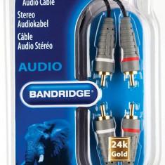 Cablu audio stereo 2x RCA tata - 2x RCA tata 1.0m, Bandridge BAL4201