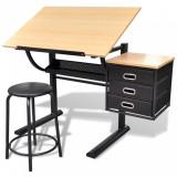 Masă de desen cu blat reglabil cu scaun 3 sertare, vidaXL