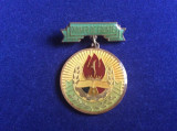 Insignă pionieri - Pionier distins cu titlul Pionier de Frunte (fond verde)