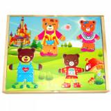 Imbraca familia de ursuleti - puzzle incastru din lemn.