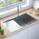 Chiuvetă de bucătărie manuală, cu scurgător, oțel inoxidabil, vidaXL