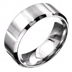 Inel din oțel - bandă cu tăieturi, mat și lucios - Marime inel: 67