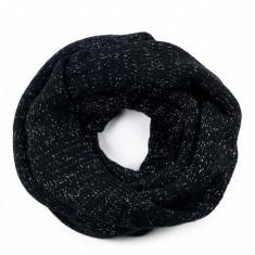 Fular circular dama Boheme Black 25x140 cm