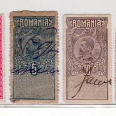 Romania   lot  Timbre  fiscale Carol I  . Ferdinand . Mihai  I